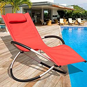 Sundale Outdoor Orbital Zero Gravity Folding Rocking Patio Lounge Chair with Pillow,Capacity 250 Pounds,Red
