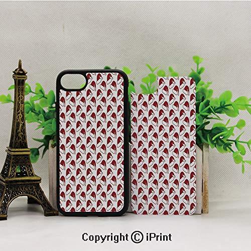 Phone Case Compatible with iPhone7 iPhone8,Santa-Hat-Pattern-Symbols-of-Winter-Season-Sledge-Ornamental-Design-Doodle-Style-Decorative,2D Print Black Edge