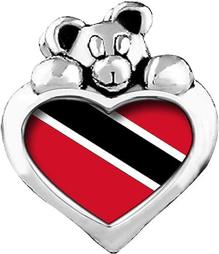 GiftJewelryShop Trinidad and Tobago Flag Photo Topaz Crystal November Birthstone Flower Bead Charm Bracelets