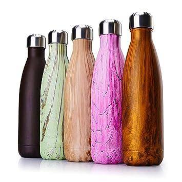 HOUGESAO Reutilizable Deporte Agua Botella Acero Inoxidable ...
