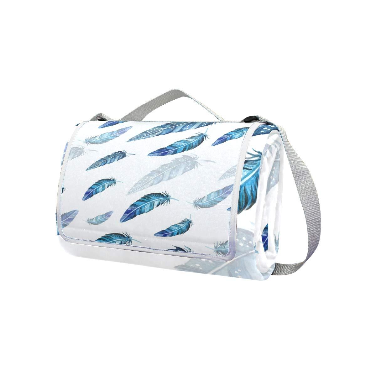 jeansame - Manta de pícnic, diseño Vintage de Plumas x de Cisne Bohemias, Impermeable, Plegable, 150 x Plumas 145 cm f761e2
