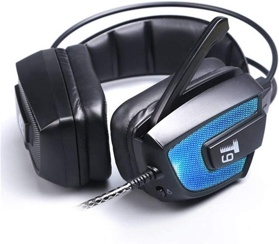Gaming Headset Headset for Mobile PC Driver LED Flashing Vibration with Microphone Headphones with Noise canceling Microphone Color : Black, Size : M