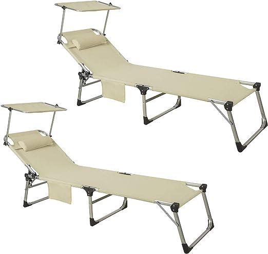 OGS36-SCH SoBuy Lettino Prendisole Pieghevole Cuscino e tettuccio Regolabile 4 Angoli di reclinazione con Organizer Nero