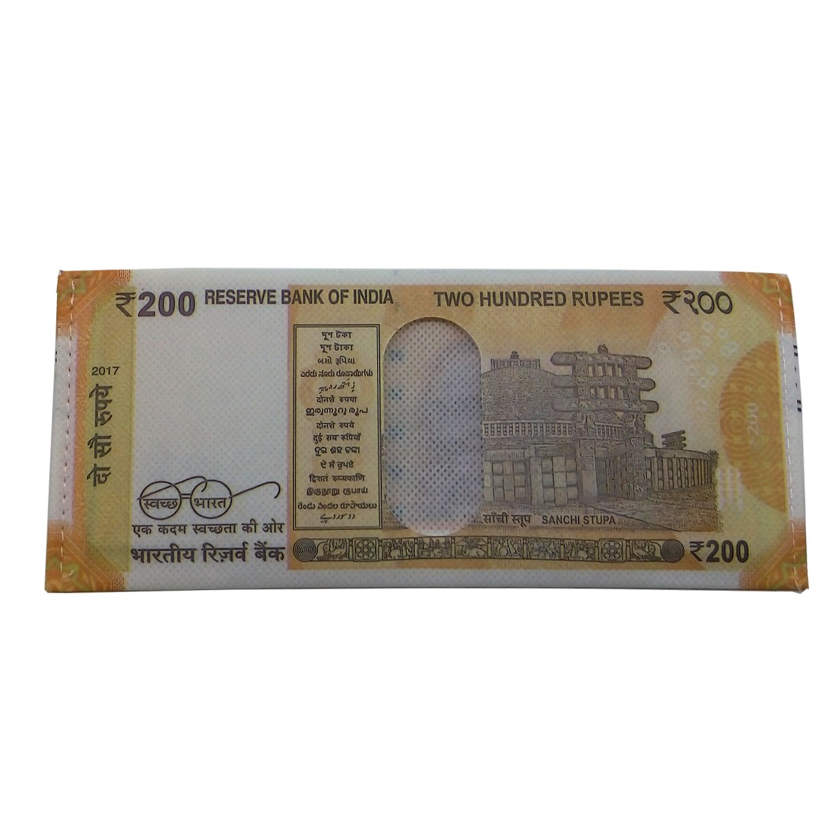 Insasta Polyester New Indian 200 Rupee Note Printed Orange Men's Wallet