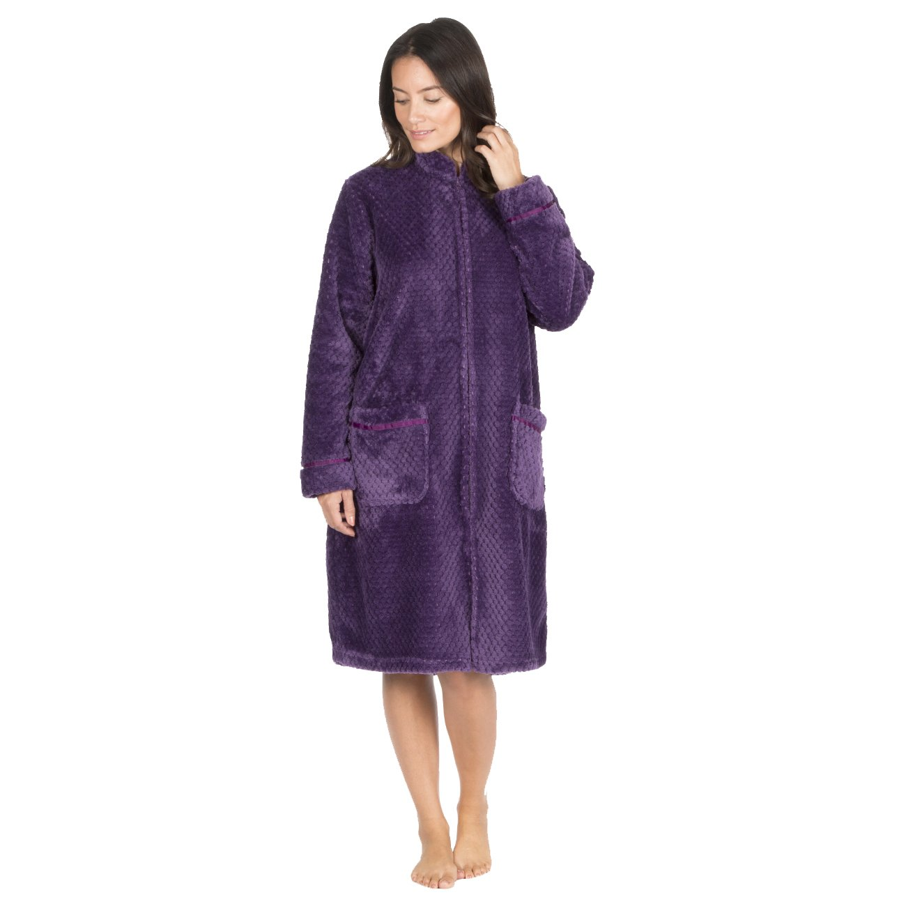 Forever Dreaming Ladies Waffle Fleece Dressing Gown - Zip Up Fluffy Housecoat