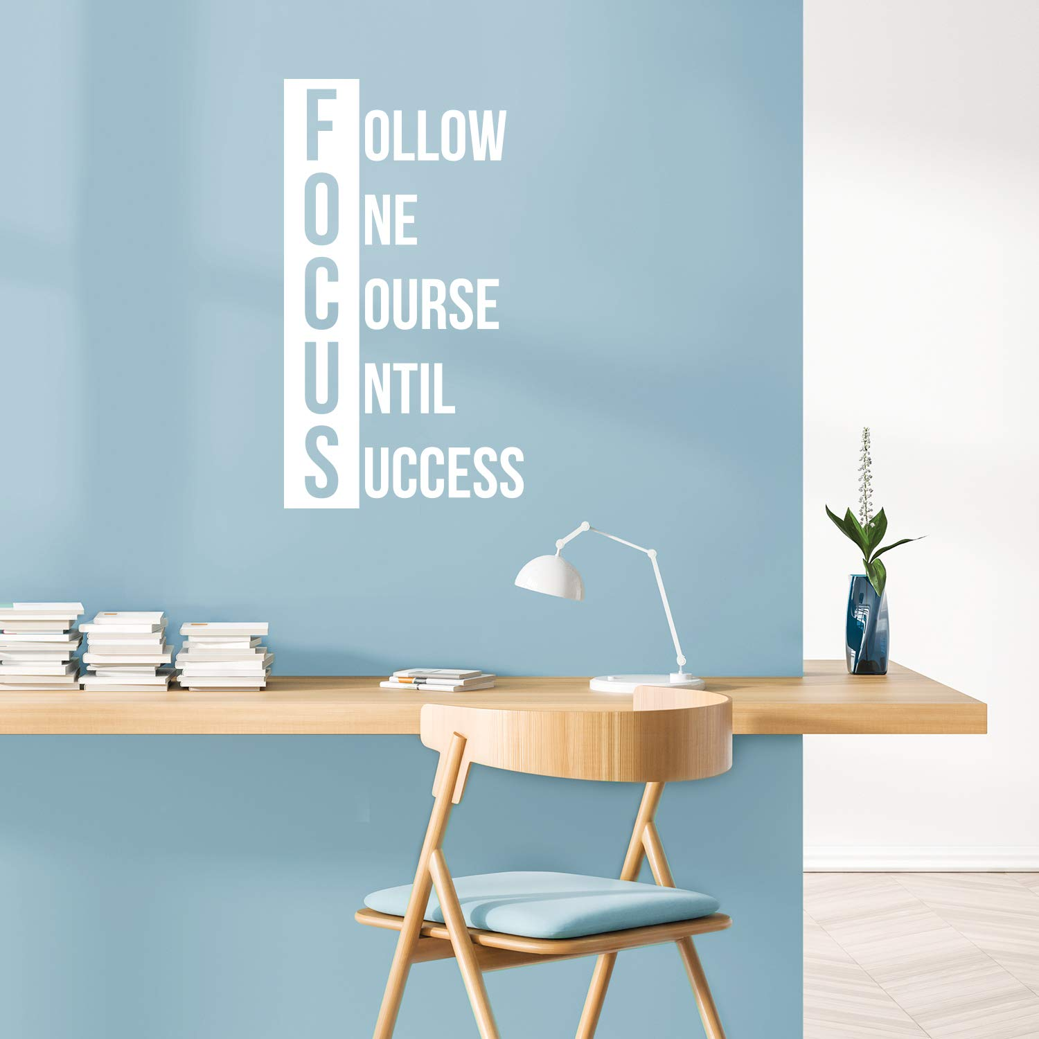 """Vinyl Wall Art Decal - Focus Follow One Course Until Success - 30"""" x 17"""" - Trendy Motivational Quote Sticker for Home Gym Bedroom Exercise Room Classroom Work Office Decor (White)"""