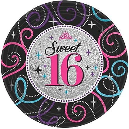 Amscan Elegant Sweet Sixteen Celebration Birthday Party Dessert Paper Plates Disposable Tableware (8 Pack)  sc 1 st  Amazon.com & Amazon.com: Amscan Elegant Sweet Sixteen Celebration Birthday Party ...