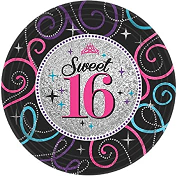 Elegant Sweet Sixteen Celebration Birthday Party Dessert Paper Plates Disposable Tableware (8 Pack)  sc 1 st  Amazon.com & Amazon.com: Elegant Sweet Sixteen Celebration Birthday Party Dessert ...