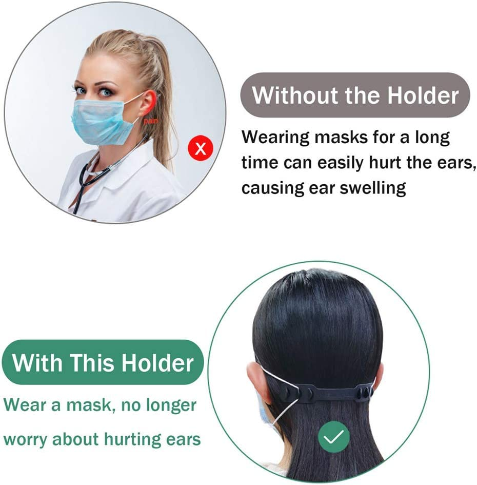Mask Hook Strap Buckle 4 Gears Adjustable Anti-Slip Ear Hook for Long time Wearing Mask,Strap Relieves Discomfort and Pain in Your Ears,Compatible with All Kinds of Mask. Black