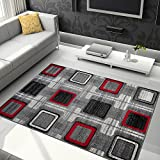 TAPISO JAWA Collection Area Rug Abstract Square Shapes Modern Design| Ideal for Living, Bed & Dining Room | Elegant Contemporary Pattern | Gray & Red 5'3