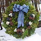 Fresh Blueberry Christmas Wreaths w/Blue Bow - Front Door Display for Holiday Season - Makes the Best Present - Arrives in Festive Red Gift Box