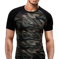 T-Shirt Slim Homme Camouflage, Hommes Été Mode Camouflage Militaire T-Shirts Chemise à Manches Courtes T-Shirt Blouse, Tops Grande Taille Classique Blouse Loisir Ba Zha Hei