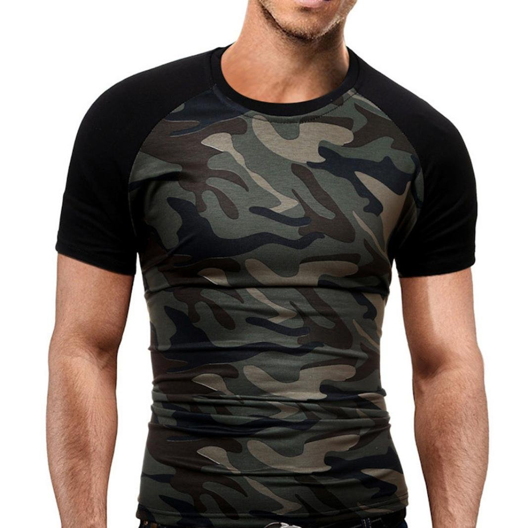 T-Shirt Slim Homme Camouflage, Hommes Été Mode Camouflage Militaire T-Shirts Chemise à Manches Courtes T-Shirt Blouse, Tops Grande Taille Classique Blouse Loisir Ba Zha Hei Business casual loisirs