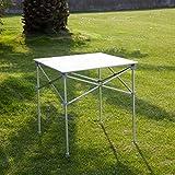 "Kinbor 27.6"" Aluminum Roll Up Portable Square Picnic Table, Silver"