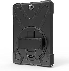 Funda para Galaxy Tab A 9.7, resistente a la moda, con función atril y cubierta delgada a prueba de golpes para Samsung Galaxy Tab A 9.7 SM-T550 P550 (negro)