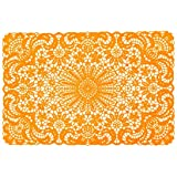 Present Time Set of (4) Vinyl Lace Design Kitchen Table Placemats 18x12 - Orange