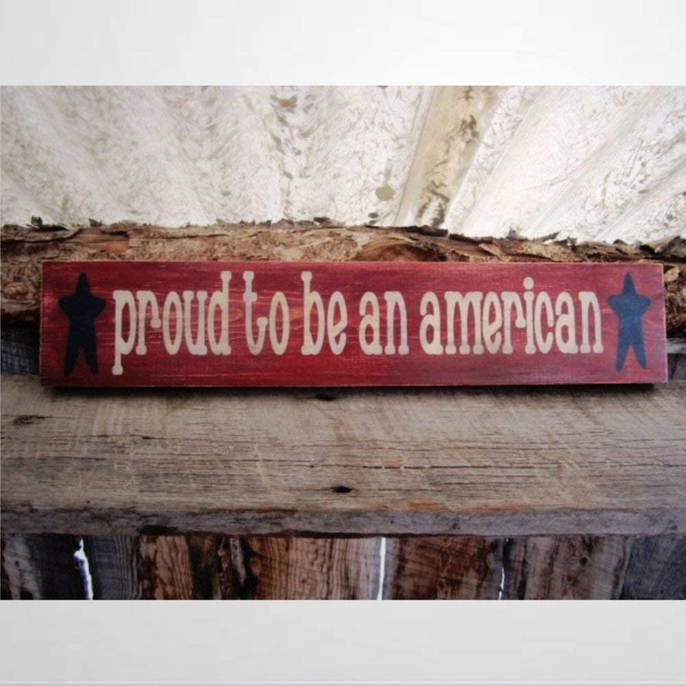 BYRON HOYLE Proud to Be an American Wood Sign,Wooden Wall Hanging Art,Inspirational Farmhouse Wall Plaque,Rustic Home Decor for Living Room,Nursery,Bedroom,Porch,Gallery Wall