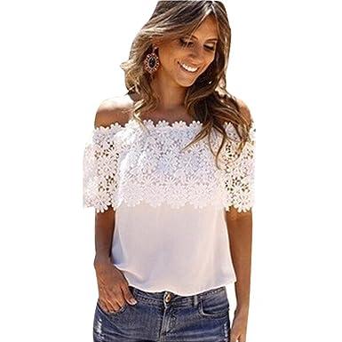 f631667a TAORE Long sleeve Taore Sexy Women Off Shoulder Casual Tops Blouse Lace  Crochet Chiffon Shirt at Amazon Women's Clothing store: