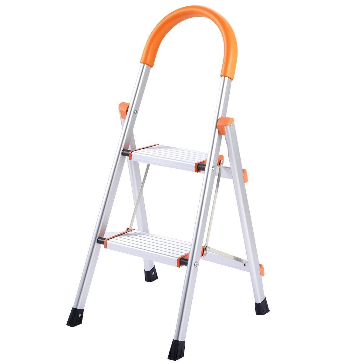Giantex 2 Step Ladder Folding Stepladder Rating 3-Foot Ladder Aluminum Step Stool Ladder Folding Platform Stool 330 lbs Load Capacity Lightweight Multi-Use Ladder w/Anti-Slip Handgrip and Wide Pedal