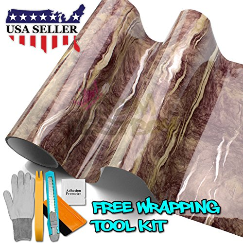 Free Tool Kit Faux Gloss Marble Granite Counter Top Vinyl Self Adhesive Peel Stick Wrap Roll Contact Paper Cover Decal Film D40 (Kit D40)