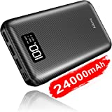 Power Bank Portable Charger 24000mAh - High Capacity with Digital Display LCD Screen, 3 USB Output & Dual Input, External Battery Pack for Android Phones,Smartphones,Tablet and More (Black)