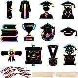 Mocossmy 2021 Graduation Scratch Artcards - Double Sided Graduation Scratch Paper Art Kit with Scratch Stick,Craft Art Pack G