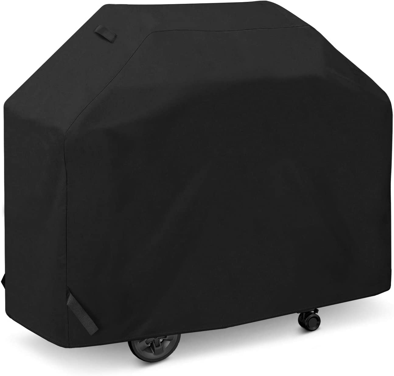 SunPatio Grill Cover 50 Inch, Outdoor Heavy Duty Waterproof Barbecue Gas Grill Cover, UV and Fade Resistant, All Weather Protection for Weber Char-Broil Dyna-Glo Nexgrill Grills and More, Black