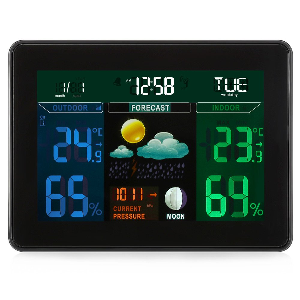 Digital Wireless Weather Station,Indoor / Outdoor with 2 Wireless Sensor,Digital LCD Display Alarm Clock Calendar Function for Temperature, Humidity, Time, Calendar &Weather Tendency-EarMe by EARME