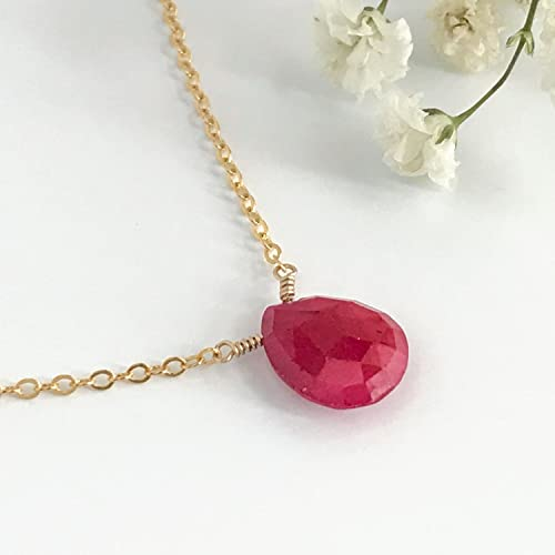 ca0e776e19a93 Genuine Ruby Necklace, July Birthstone Choker Necklace, 15 - 20 inches,  Available in Gold, Silver or Rose Gold