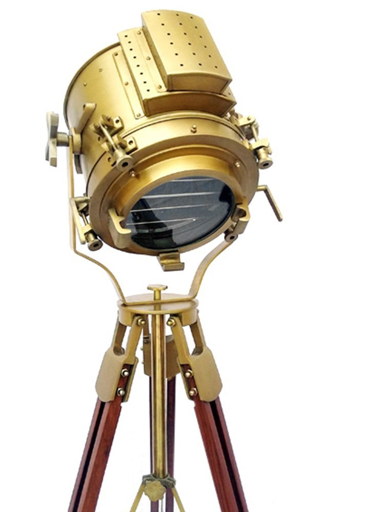 Nautical Antique Finish Brass Spotlight Searchlight Wooden Tripod Floor Lighting Stand Vintage Home Decor by Areeva Décor