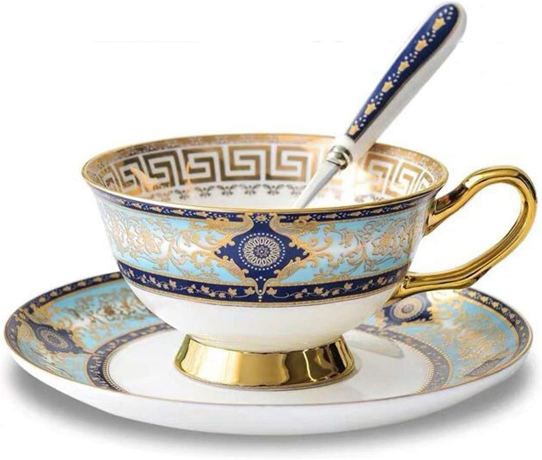 YBK Tech Euro Style Cup& Saucer Set Art Bone China Ceramic Tea Coffee Cup for Breakfast Home Kitchen