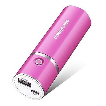 Poweradd Slim 2 - Batería externa 5000 mAh power pack para smartphones, cámaras digitales y MP3 (Rosa)