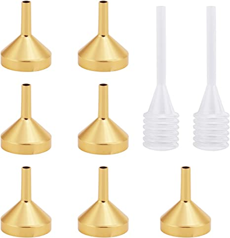 27 Pieces Mini Metal Funnels with 4 Pieces Mini Pipette for Filling Small Bottle