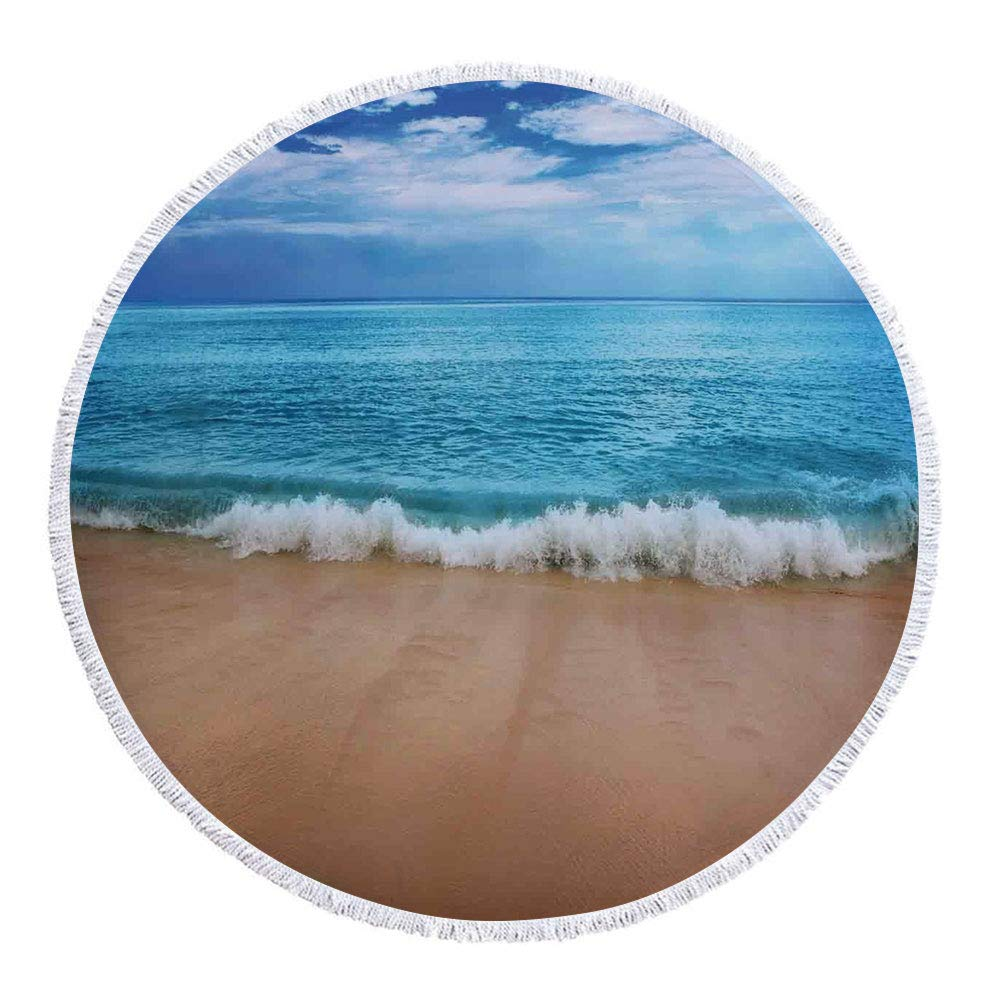 iPrint Thick Round Beach Towel Blanket,Ocean Decor,India Andaman Islands Calm Sea Soft Sand Beach Summer,Multi-Purpose Beach Throw