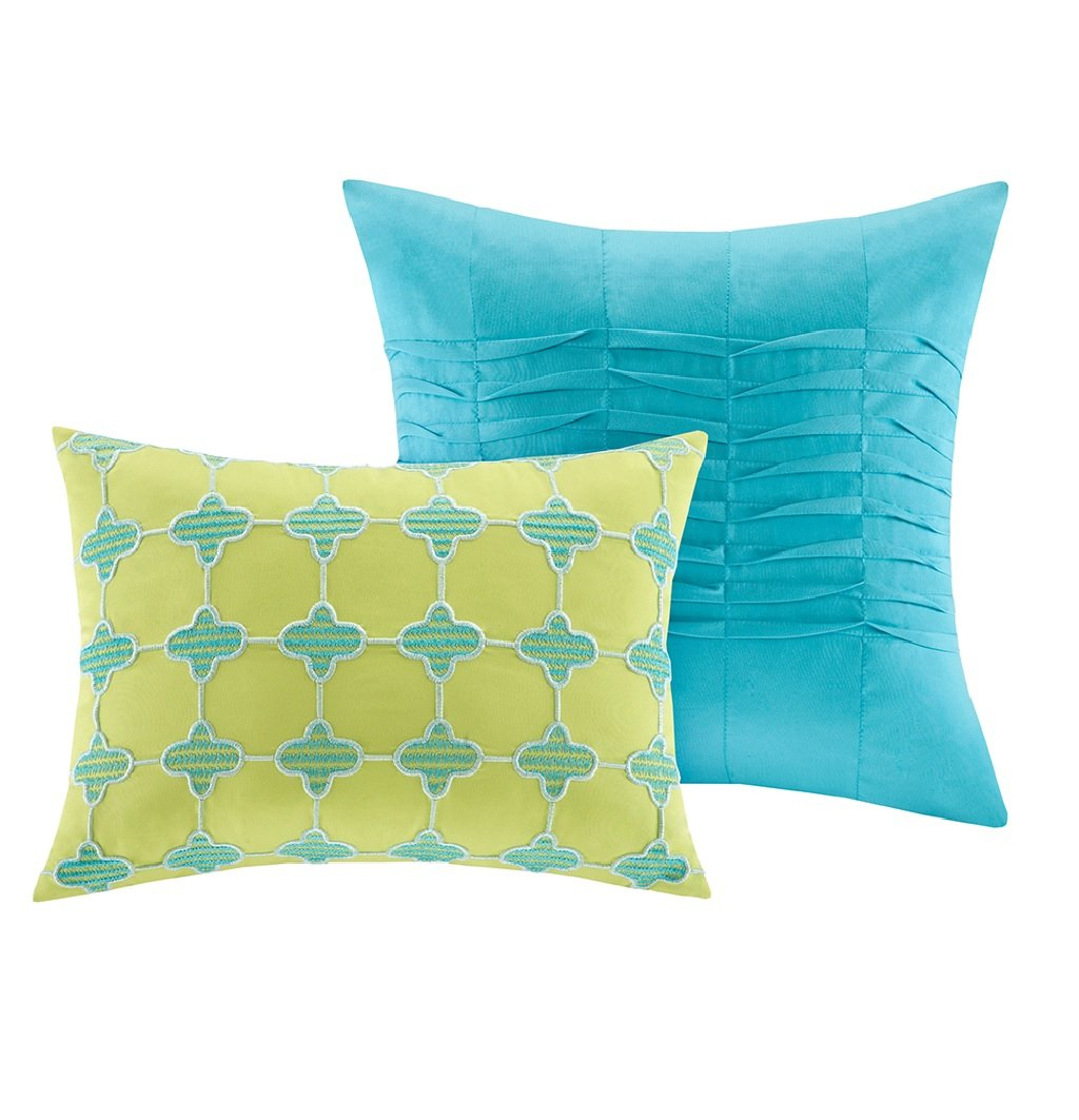 Modern Teen Bedding Girls 4 Piece Reversible Comforter Set Aqua Teal Blue Lime Green Floral Damask Print. Includes Bonus Sleep Mask From Designer Home. (Twin/twin Xl) by ID (Image #6)