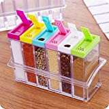 JD Set of 6 Spice Shaker Jars Seasoning Box,Condiment Jar Storage Container with Tray for Salt Sugar Cruet Pepper,Colorful