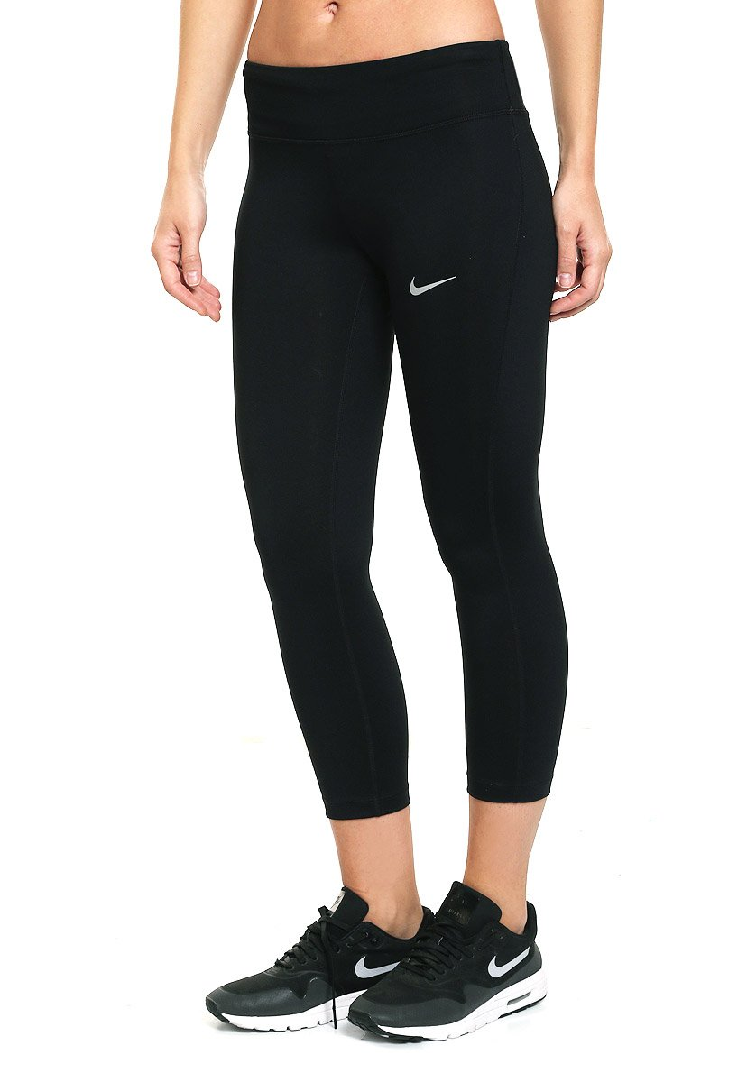 NIKE Women's Power Essential Dri-FIT Running Crops, Black/Black, Small by Nike (Image #1)