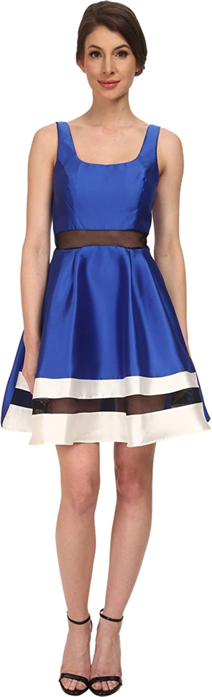 ABS Allen Schwartz Womens Scoop Neck Contrast Hem Cocktail Dress Royal Dress 12
