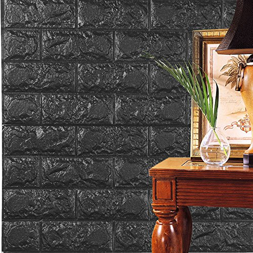 Jaromepower PE Foam 3D Wallpaper DIY Wall Stickers Wall Decor Embossed Brick Stone for Kitchen Bathroom Home Room Wall Decoration