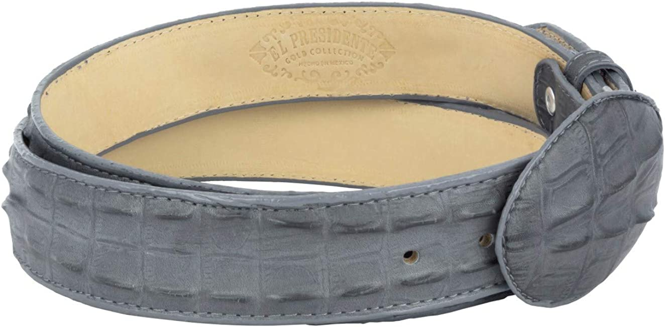 Cowboy Professional Mens Gray Crocodile Tail Leather Western Belt Round Buckle 40