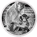 Pixels Round Beach Towel With Tassels featuring ''Mother And Baby Monkey Black And White'' by Adam Romanowicz