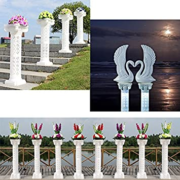 Adorox 40 in – 2 Columns Decorative Home Wedding Event Plastic Column Adjustable Height and Holds Flower Plate