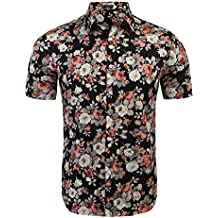 COOFANDY Men's Floral All Over Print Button Down Short Sleeve Shirt