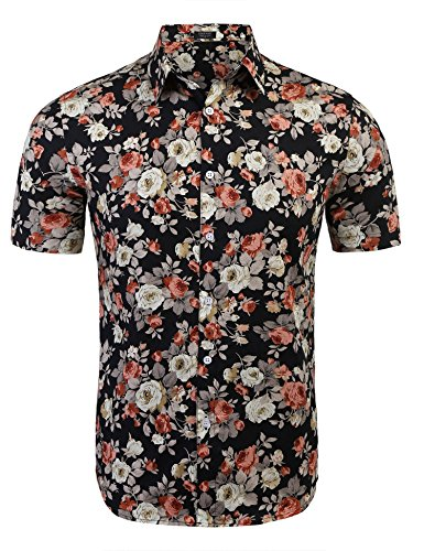 COOFANDY Mens Floral All Over Print Button Down Short Sleeve Shirt,Pattern,Small