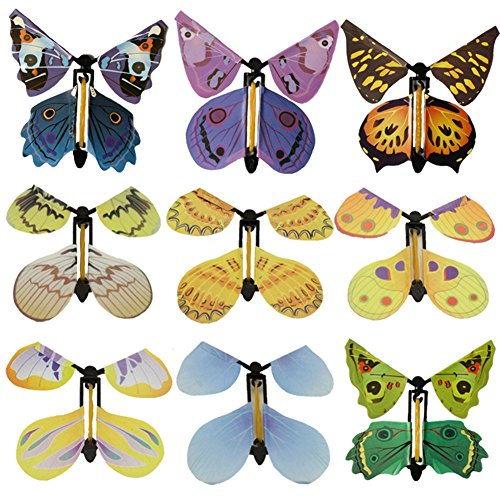Elibeauty 9Pcs Flying Butterfly Card, Magic Fairy Flying in The Book Butterfly Rubber Band Powered Wind Up Butterfly Toy Great Surprise Wedding Birthday Gift]()