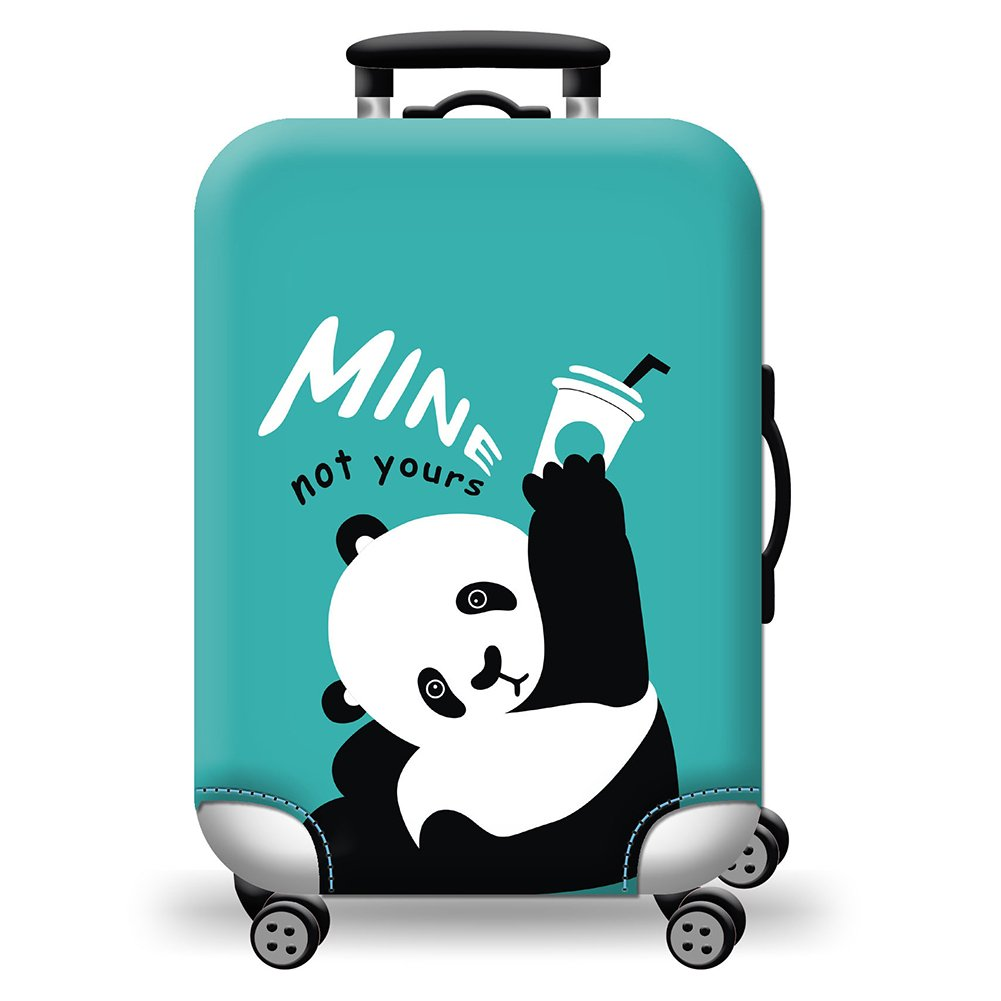 Cute Panda Art Blue Travel Suitcase Protector Zipper Suitcase Cover Elastic