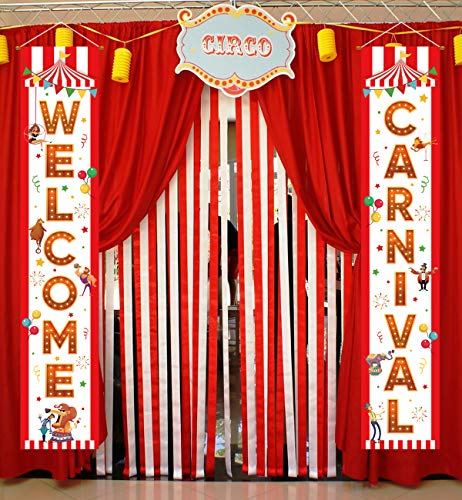 Carnival Circus Banner Decorations - Birthday Party Supplies Door Porch Sign Welcome Home Décor -