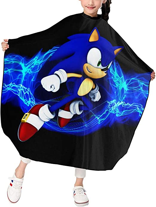 Amazon Com Hsanfwnzl Kids Haircut Barber Cape Sonic The Hedgehog Apron Hairdressing Gown Cape Hair Salon Haircut Styling Smock Cover Cloth Home Kitchen
