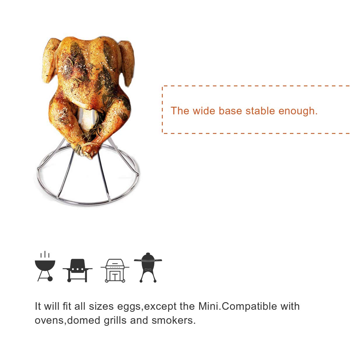 QQMaster Vertical Chicken Roaster Stainless Steel Turkey Rack Roaster Beer Can Meat Rack Holder Non-Stick Poultry Grill Stand Can Hold Turkey Or Cornish Game Hens Fit for Big Green Egg,Kamado Grills by QQMaster (Image #5)