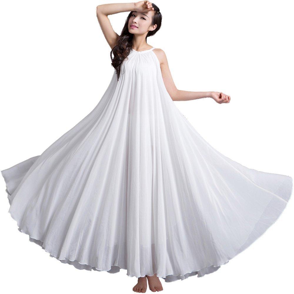 Medeshe Women's White Chiffon Beach/garden Wedding Maxi Dress